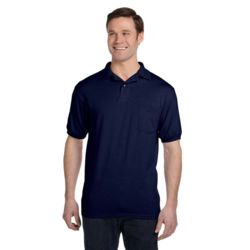 Hanes 054P Adult 5.2 oz., 50/50 EcoSmart® Jersey Pocket Polo Thumbnail