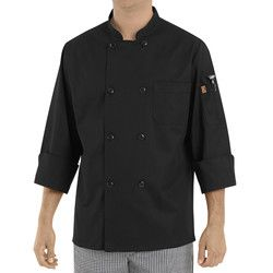 Chef Designs KT76 Eight-Button Black Chef Coat Thumbnail